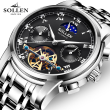Luxury Brand SOLLEN Mechanical Watch Men Multi-functional Moon Phase Watches Tourbillon Stainless Steel Wristwatch Reloj Hombre
