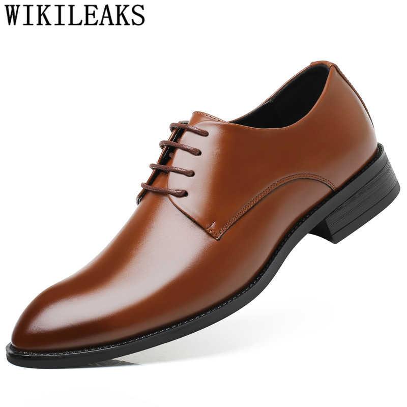 Mens יוקרה חתונה נעלי עור אלגנטי עסקי נעלי mens שמלת נעליים לגברים 2019 zapatos plateado hombre schoenen mannen