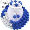 Boda nigeriano Beads Africanos Azul y Plata laanc AL059