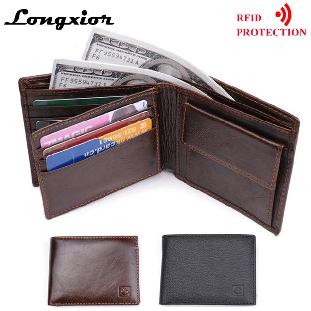 LONGXIOR Genuine Leather Men Wallet RFID Blocking Wallet Men Fashion Cow Leather Purse Identity Protection Men's Wallets MRF7