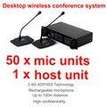 Профессиональный 2.4 Г Цифровой Беспроводной Настольный микрофон конференции система состоит из 1 базовой установки, 50 председатель и делегат единиц