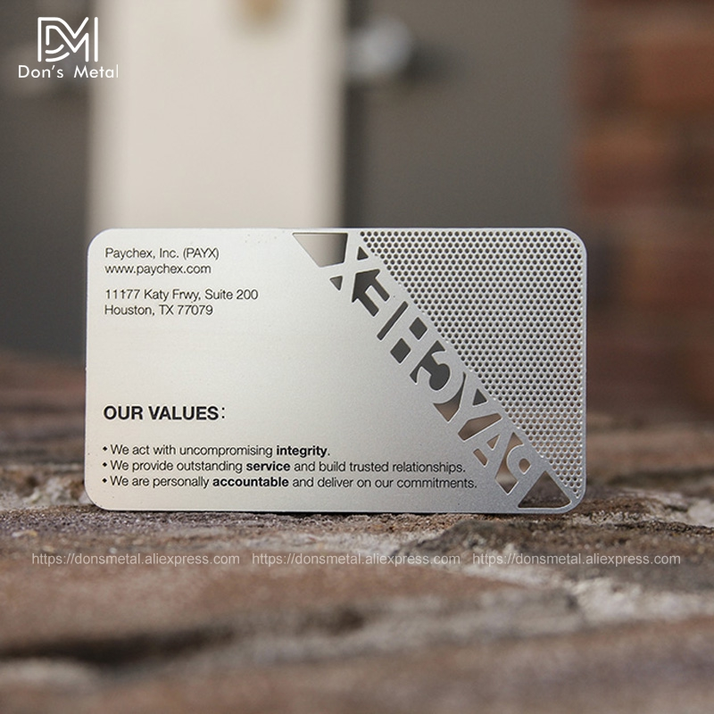 Image 5 - Hollow out/ Cut out stainless steel metal business card Metal membership card design metal business card customization-in Business Cards from Office & School Supplies