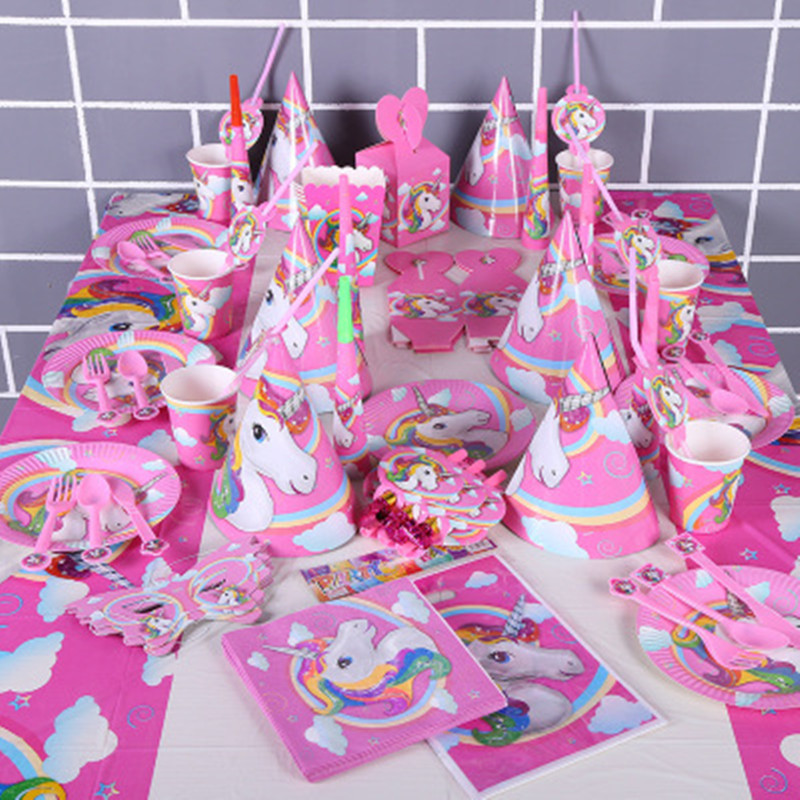 Handmade Pink Unicorn Party Cupcake Decoration birthday party decorations kids baby shower Party and Festival DIY Decoration