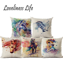 Colorful Oil Painting Unique Horse Linen Throw Pillow Cushion Cover Home Room Decorative Pillow Case Almofadas Cojines