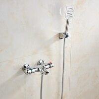 Mejor Grifo de baño termostático con grifos de ducha de mano montados en la pared para bañera grifo de ducha de baño cromado EL9523