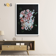NOOG Nordic Decoration Pink Pretty Peony Wall Art Flower Canvas Posters and Prints Painting Pictures for Living Room Decor