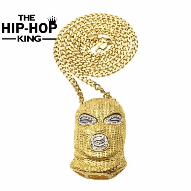 Хип-Хоп CSGO Ожерелье Мужская Punk Стиль Сплава Золота Посеребренная Маска Глава Шарм Подвеска Высокое Качество Кубинской Цепи