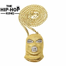 CSGO Collar Colgante Para Hombre de Hip Hop Estilo Punky de la Aleación de Plata Chapado En Oro Cadena Cubana Máscara Head Charm Colgante de Alta Calidad