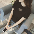 2016 Verão O-pescoço Manga Curta Coração Malha T Feminino Camisa Magro Cor sólida Cartilha Camiseta Sexy Assentamento T-shirt Das Mulheres Top Quente