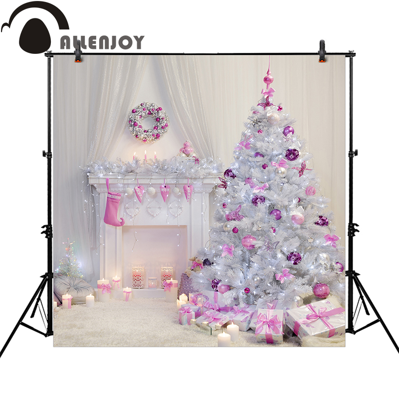 Allenjoy Christmas photography backdrops tree purple dream room fireplace girl professional background photocall allenjoy photography backdrops library bookshelf school student study room books photocall baby shower