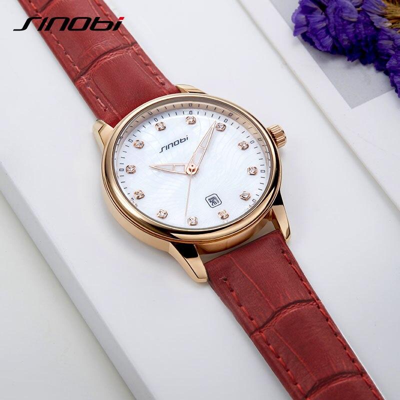 SINOBI Women Fashion Red Quartz Watch Lady Leather Watchband High Quality Casual Luminous Waterproof Wristwatch Girl Gift  2019