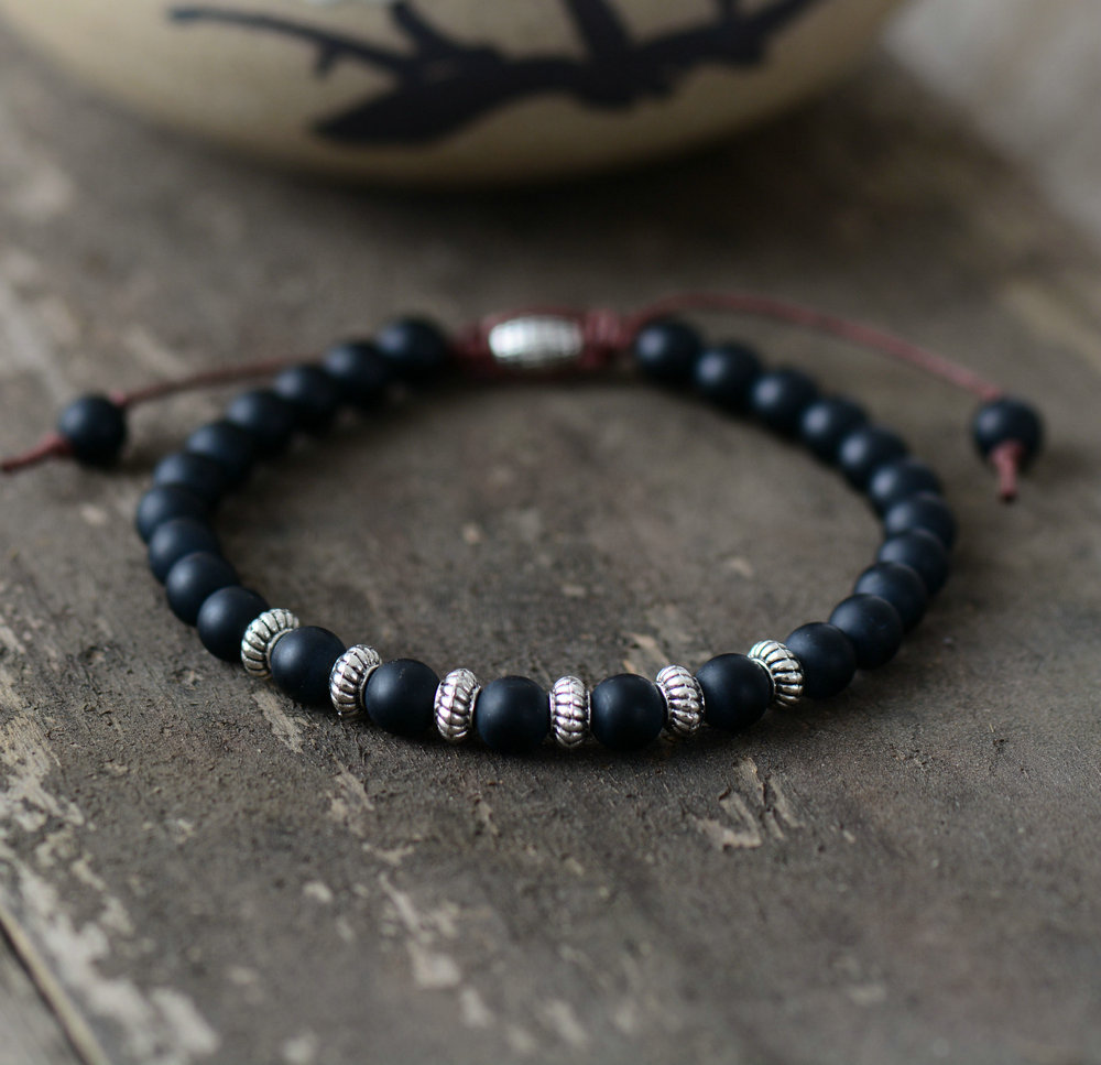 Boho Bracelet Mens Beaded Bracelet 6mm Matte Black Onyx ...