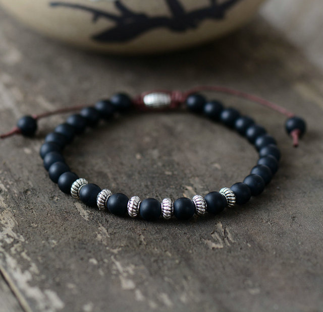 Boho Bracelet Mens Beaded 6mm Matte Black Onyx Antique Charm Simple Handmade Bracelets