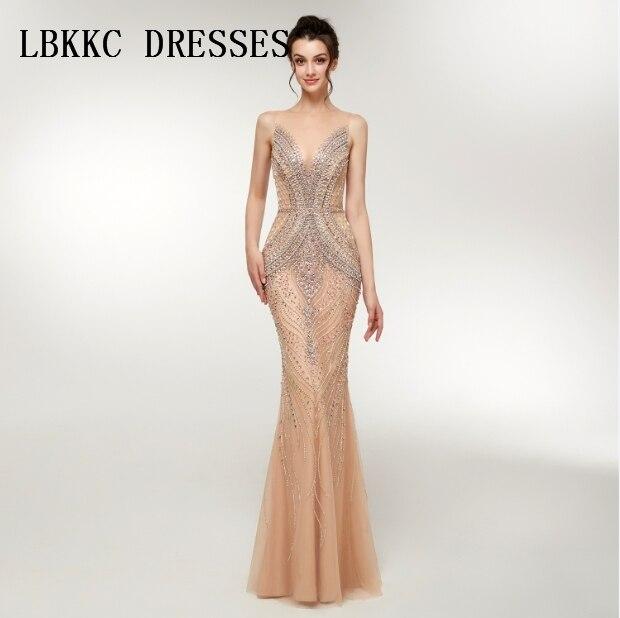 Robe De Soiree Sleeveless Champagne Evening Dresses Mermaid Floor Length Heavy Handly Sew Beads Vestido De Festa Longo