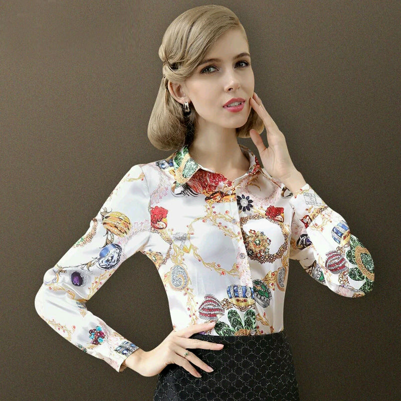 Pure Mulberry SILK blouse Women long sleeve work Brand Print Satin - Women's Clothing - Photo 2