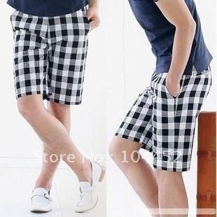 3270f576cd FREE SHIPPING - fashion black white plaid short MEN paint MALE SIZE   29 30  31 32 33