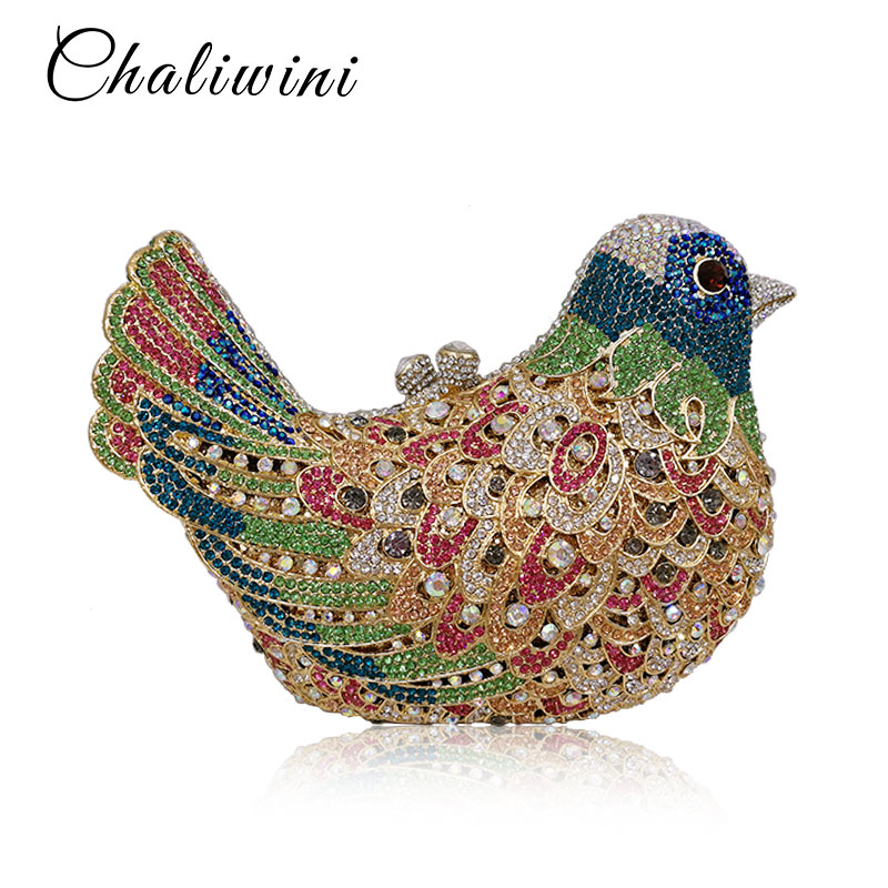 Colourful Bird Women Evening Luxury Bags Crystal Clutches Laides Evening Bag Female Party Hard Case Bags Wedding Clutch Purses colourful bird women evening luxury bags crystal clutches laides evening bag female party hard case bags wedding clutch purses