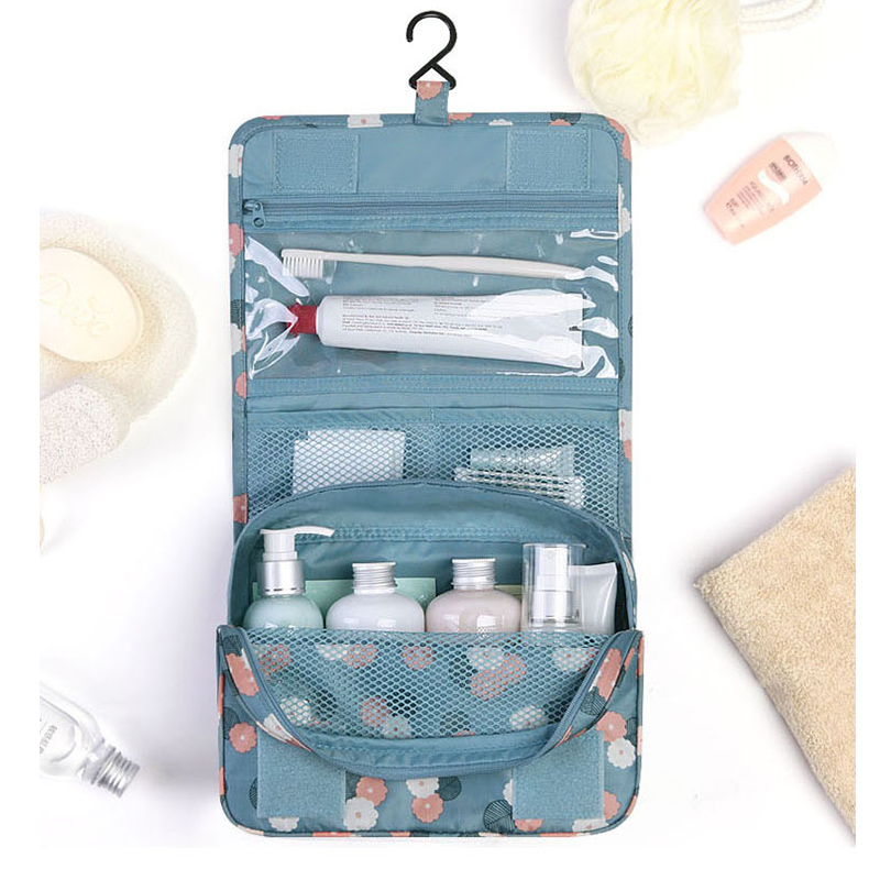 Hanging Toiletry Storage Bag Cosmetic Carry Toiletry Pockets For Women Girls Gift Kit Clear Bag for Bathroom JF005