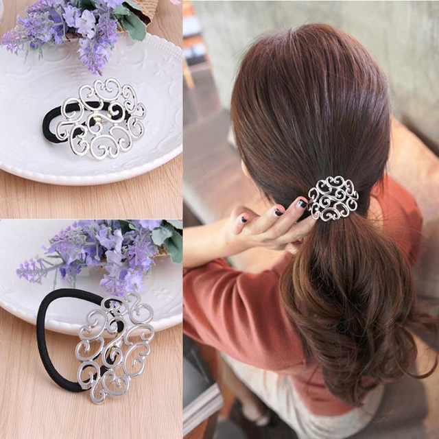 Haimeikang Hair Tie Accessories Alloy Hollow Flowers Hair Rope Ring Ponytail Holder For Women Girls Elastic Hair Rubber Bands