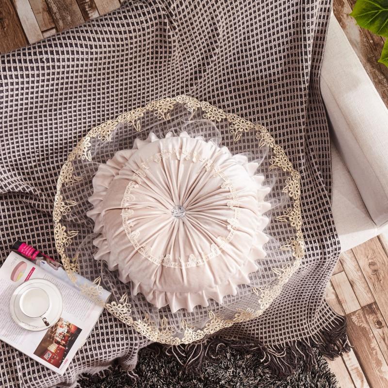 Round Pumpkin Lace Cuddle Cushion European Style Sofa Cushion Car Sofa Bed Car Dec With Filling Wholesale FG1071-2