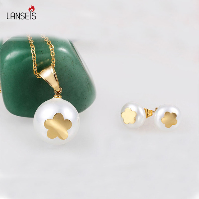 US $60 93 |Aliexpress com : Buy Lanseis Graceful Shell Beads Flower Jewelry  Sets Stainless Steel Christmas Gift,1Pcs Charm New Year Fashion Jewelry