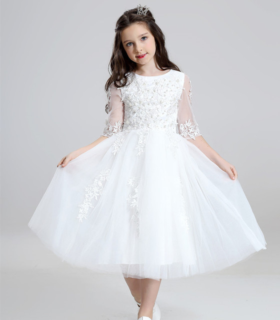 78fc54d161 US $32.6 40% OFF Vestidos De Daminha White Tulle Lace Beaded Ball Gown Half  Sleeve Flower Girl Dresses For Weddings 2018 First Communion Dresses -in ...