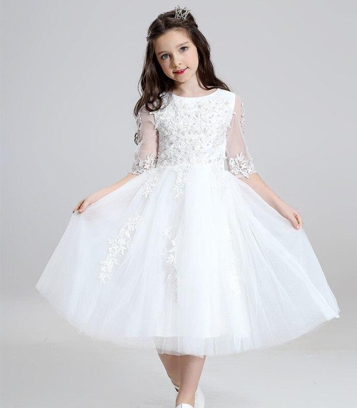Vestidos De Daminha White Tulle Lace Beaded Ball Gown Half Sleeve Flower Girl Dresses For Weddings 2018 First Communion Dresses