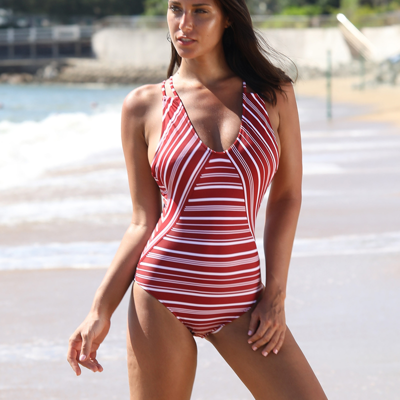 Red White Striped Sexy One Piece Swimsuit High Cut Out Women Swimwear Bandage Bodysuits Vintage Bathing Suits Biquini