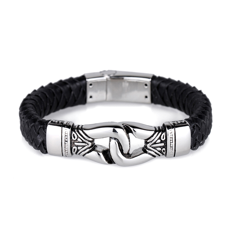 12.5mm Wide Mens Charm Bangle Heavy Duty Steel Braided Black Leather Jewelry Accosseries Byzantine Style Wristband pulseira
