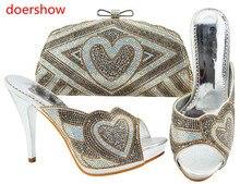 Doershow очень модная обувь для женщин итальянские подходящие туфли и сумки набор для вечеринки Итальянская обувь с сумкой набор Стразы! Искусс...