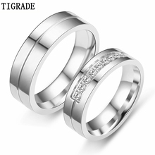 Tigrade Romantic Wedding Rings For Lover Silver Gold Stainless Steel Couple Engagement Party Jewelry Bands