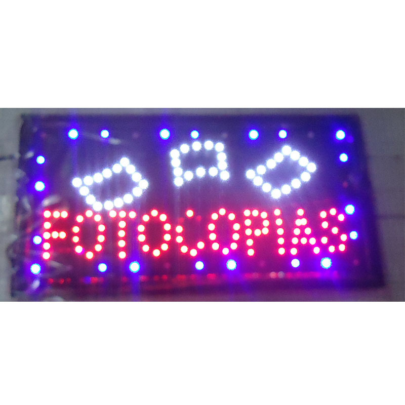 2017 hot sale customed low power 10X19 inch semi-outdoor Ultra Bright running fotocopias shop led sign