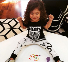 2017 New Spring Fashion Boys tshirt  and long pant Clothing Set Black Cotton Kids T Shirts and long pant  For Children