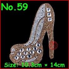 3 pcs/Lot Shining High-heeled shoes hotfix rhinestones Motify heat transfer design iron on motifs patches, DIY motif