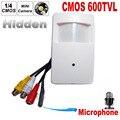Color cmos 600tvl cctv câmera de segurança motion detector pir câmera de vigilância interior cctv mini-pir estilo estilo microfone