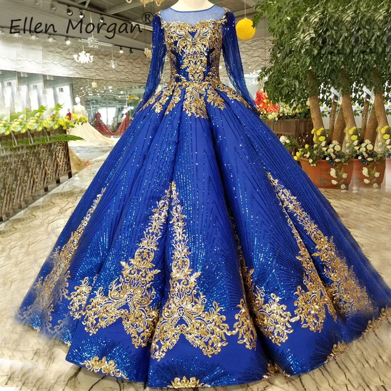 Royal Blue Ball Gown Glitter Evening Dresses For Woman 2019 Elegant Long Sleeve Boat Neck Puffy