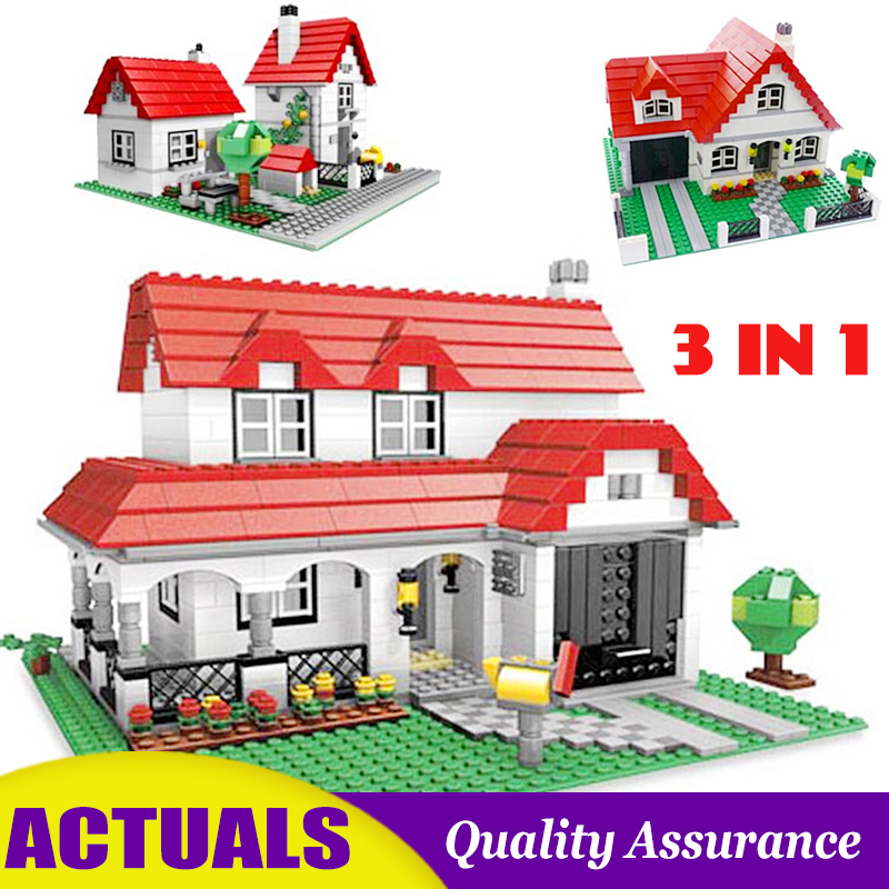 3 In 1 American House 24027 4956 Creator Building Block Red Villa 3D Construction Toy Brick