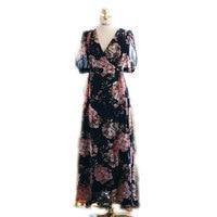 2019 Spring Summer Long Beach Dress Women V Neck Half Sleeve Floral Print Chiffon Maxi Wrap Dresses
