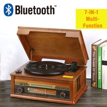 HiFi Record Player Retro Vinyl Turntable Wood Stereo System, Bluetooth 4.0, AM/FM Radio, CD, USB for MP3, Vinyl-to-MP3 Recording