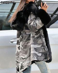 Image 2 - Bontjas Europese Amerikaanse Lange Hoed Camouflage Jas Herfst Winter Mode Stijl Nieuwe Temperament Jacket Slim Warm vrouwen Jas