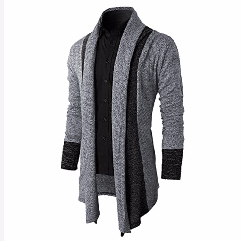 2017 Mens Sweater Cardigan Trench Open Front Masculino Male Coat ...