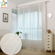 white jacquard voile curtains for living room rod pocket tulle drape transparent window sheer process finish size