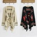Venda quente Das Mulheres Do Vintage 70 s Camisola Geométrica Asteca Tribal Indiano Franja Cigana Hippie Casaco cardigan de Malha Frete Grátis