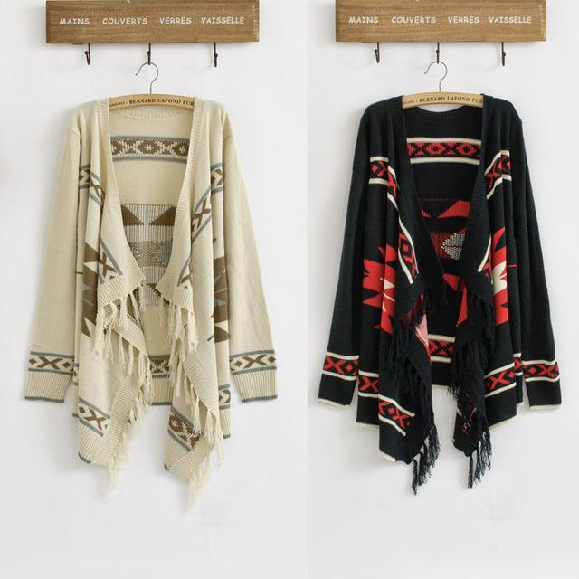 Venta caliente de La Vendimia 70 s Mujeres Suéter Geométrico Azteca Tribal Fringe India Hippie Gitano de Punto Cardigan Jacket Envío Gratis