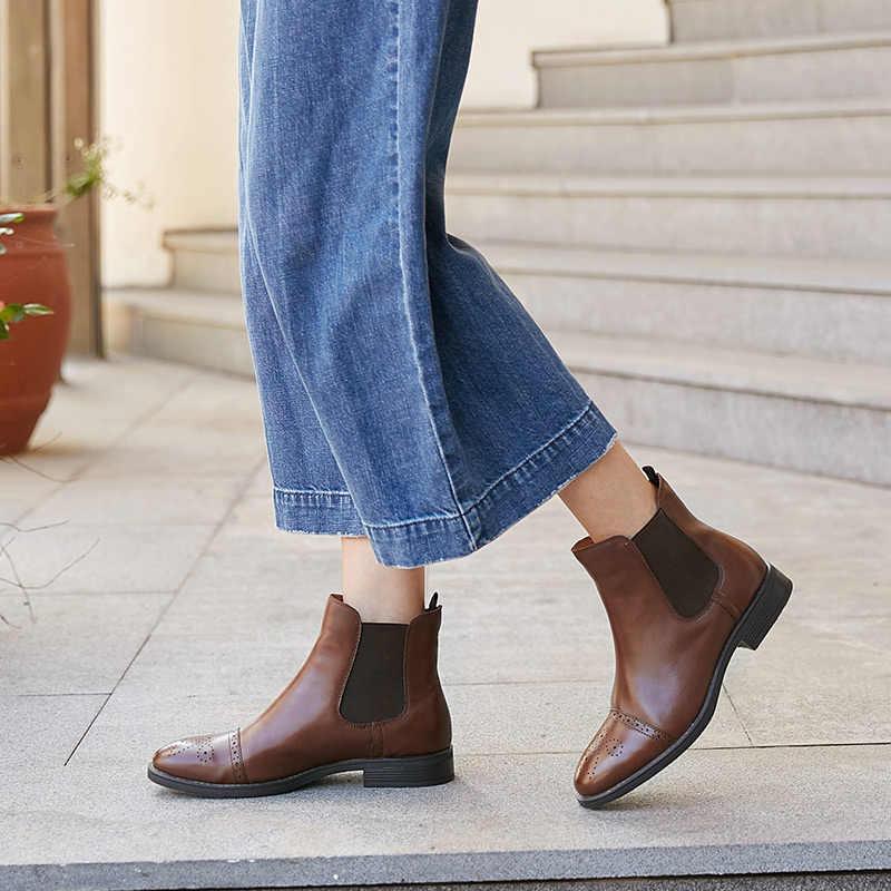 BeauToday Chelsea Çizmeler Kadın Kaliteli Marka Çizme Yarım Brogue Hakiki Buzağı Deri Ayak Bileği Uzunluğu Elastik Ayakkabı El Yapımı 03040
