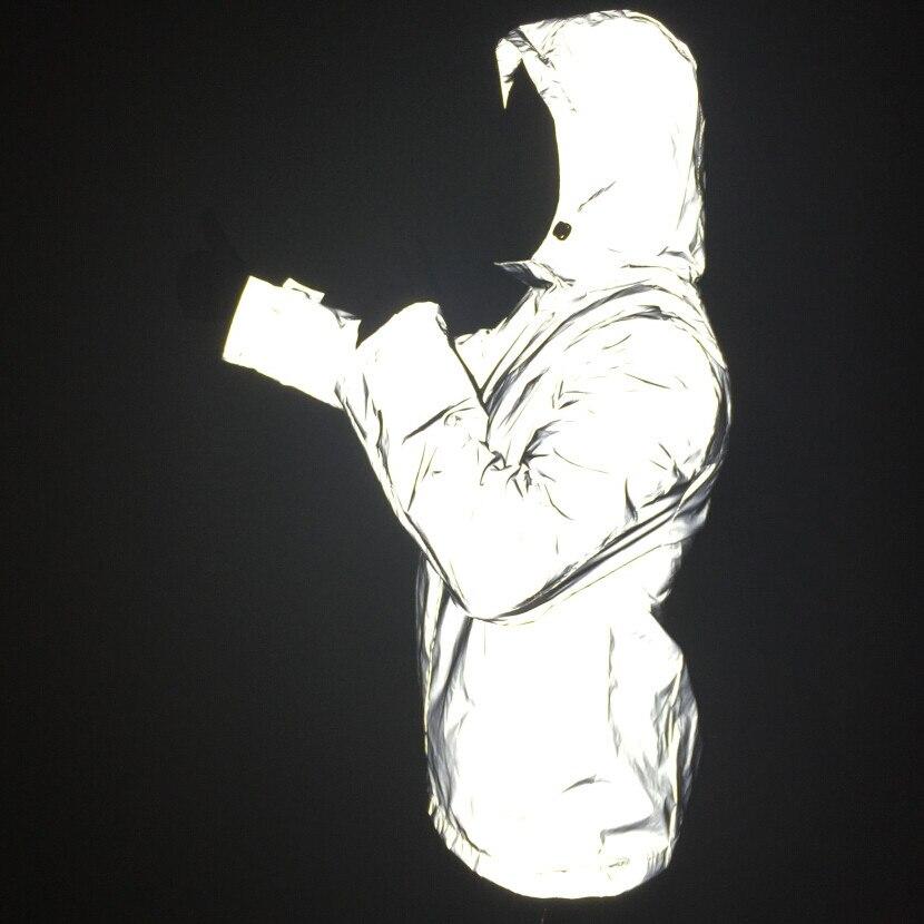 Men full reflective jacket hip hop windbreaker without any logos autumn womens and mens jackets and coats jaqueta masculina 4xl