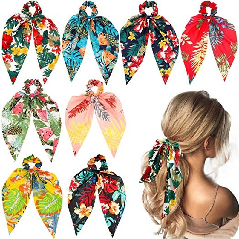Bohemian Chiffon Flower Shrink Scarf Hair Band Ponytail Entrainment Bow Floral Print Hair Bundle Rope