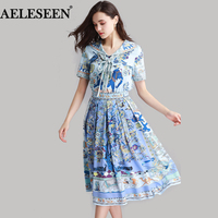 Women Fashion Casual Twinsets 2018 European Animals Print High Quality Summer Navy Style Pullover Top + Pleat Runway Skirt Sets