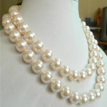 2018new 10mm White Sea Shell Pearl Necklace Fashion Jewelry Rope Chain Necklace Pearl Beads Natural Stone 35inch(Minimum Order1)(China)