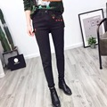 2017SS Women Fashion Black Mid Waist Floral Embroidery Skinny Jeans Slim Ankle-Length Denim Ladies Party Elegant Pencil Trousers